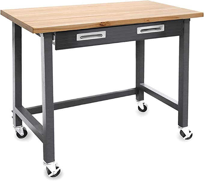 Seville Classics Ultra Graphite Wood Top Workbench w/ Wheels